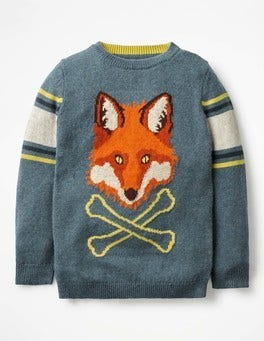 Blue Marl Fox Graphic Crew Jumper