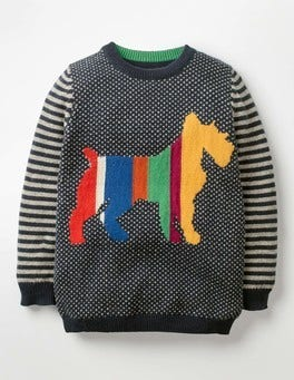 School Navy Rainbow Dog Graphic Crew Sweater