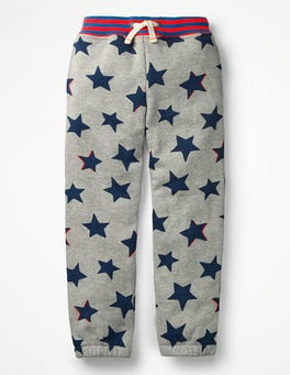 Grey Marl Small Shadow Star Fun Track Pants