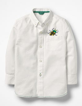 White Oxford Embroidered Bug Embroidered Shirt