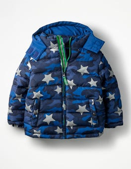 School Navy Camouflage Star High Visibility Padded Jacket