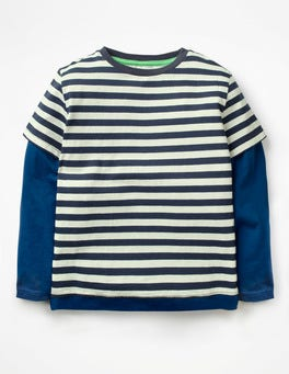 Ecru/School Navy Layered T-Shirt