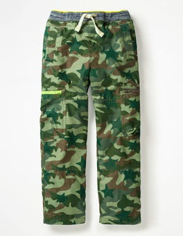Khaki Green Camouflage Star Lined Pull-on Cargo Pants
