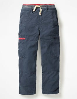 School Navy Lined Pull-on Cargo Pants