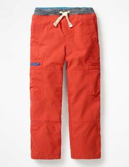 Lava Orange Lined Pull-on Cargos