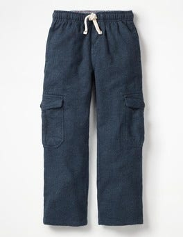 School Navy Herringbone Brushed Tartan Cargo Pants