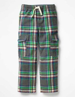 Grey Marl/Astro Green Check Brushed Tartan Cargo Pants