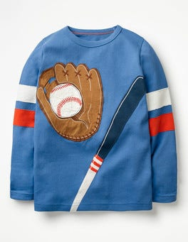 Daphne Blue Baseball Applique Sports T-shirt
