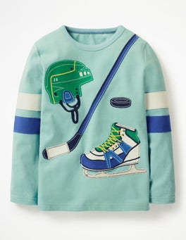 Dolphin Blue Hockey Appliqué Sports T-shirt
