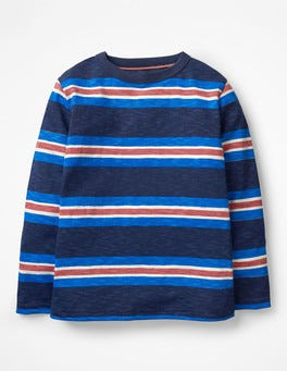 School Navy/Electric Blue Stripy Slub T-shirt