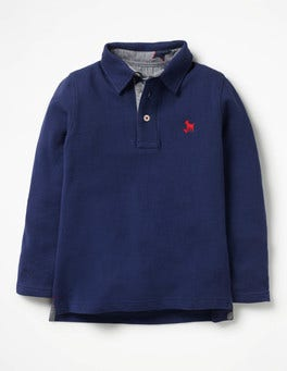 Starboard Blue Long-sleeved Pique Polo Shirt