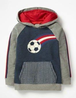 Navy Marl Football Appliqué Football Hoodie