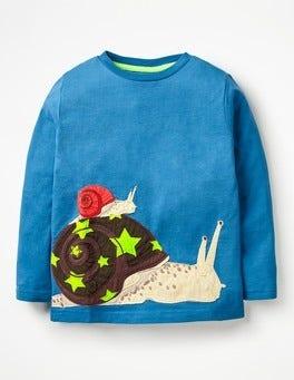 Daphne Blue Snail Go Wild Appliqué T-shirt