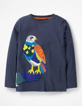 School Navy Falcon Go Wild Appliqué T-shirt
