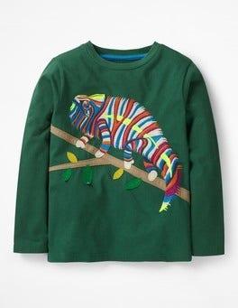 Scots Pine Green Chameleon Go Wild Appliqué T-shirt