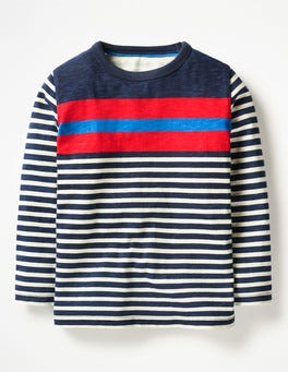 School Navy Multi Stripy T-shirt