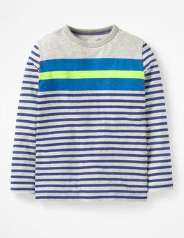 Grey Marl Multi Stripy T-shirt