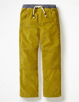 Soft Lime Yellow Lined Cord Pull-on Trousers