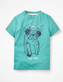 Dark Turquoise Pug Rock Animal Graphic T-shirt