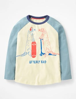 Ecru Otterly Rad Slogan Raglan T-shirt