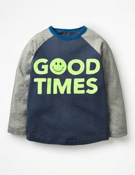 Navy Blue Good Times Slogan Raglan T-shirt