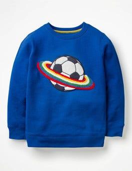 Orion Blue Space Football Bouclé Graphic Sweatshirt