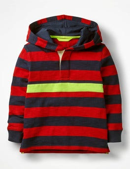 School Navy/Salsa Red Hooded Rugby Shirt
