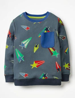 Robot Blue Shooting Stars Fun Sweatshirt