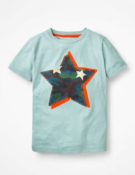 Dolphin Blue Star Printed Appliqué T-shirt