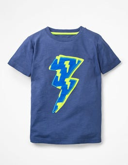Starboard Blue Lightning Bolt Printed Appliqué T-shirt