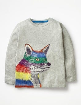Grey Marl Rainbow Fox Wild Superstitch T-shirt