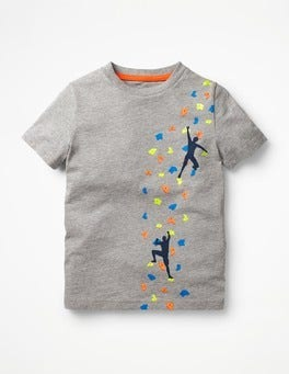 Grey Marl Climbing Wall Sporty Graphic T-shirt