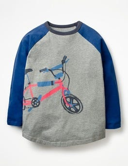 Grey Marl Bike Sporty Raglan T-shirt