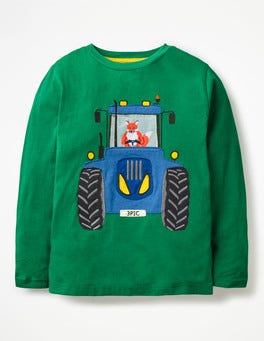 Watercress Green Tractor Fox Vehicle Appliqué T-shirt