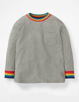 Grey Marl Jaspé Stripy Rib Raglan T-shirt