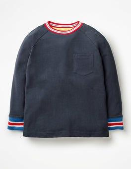 School Navy Stripy Rib Raglan T-shirt