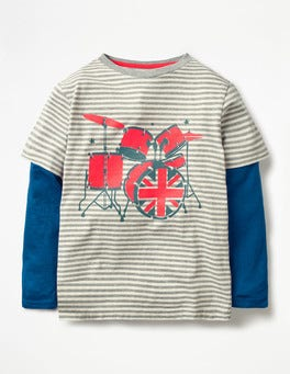 Grey Marl/Ecru Drums Stripy Music T-shirt