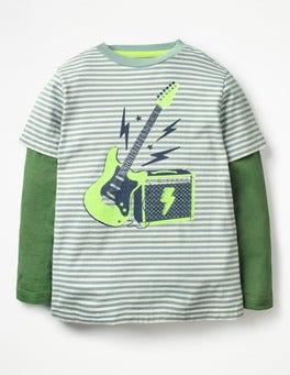 Wren Blue/Ecru Guitar Stripy Music T-shirt
