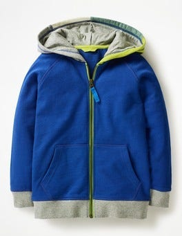 Orion Blue Patchwork Hooded Zip-through