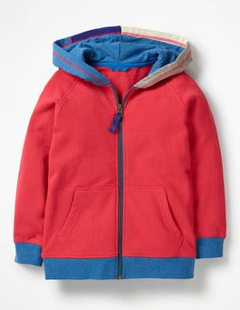 Salsa Red Patchwork Hooded Zip-through