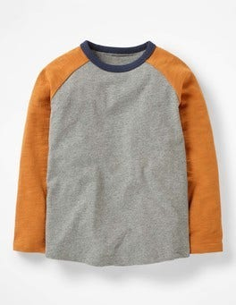 Grey Marl/Sticky Toffee Brown Raglan T-shirt