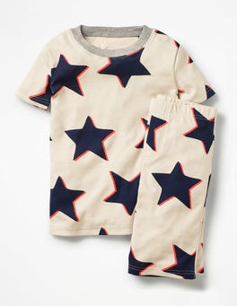 Ecru Shadow Star Cosy Short John Pyjamas