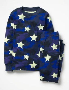 School Navy Camouflage Star Glow-in-the-dark Pajamas