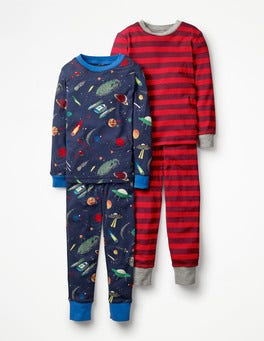 School Navy Space Invasion Twin Pack Long John Pyjamas