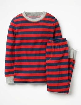 Salsa Red/School Navy Cosy Long John Pyjamas