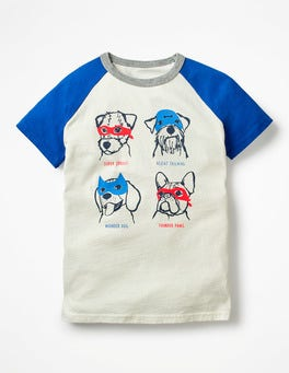 Ecru Super Dogs Animal Raglan T-shirt
