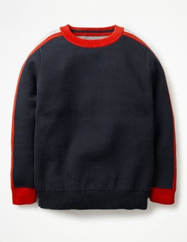 School Navy Sporty Crew Sweater