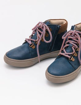 Robot Blue Leather Lace Up Boots