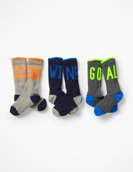 Multi 3 Pack Ribbed Socks