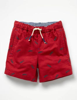 Oxford Red Embroidered Fish Oxford Shorts